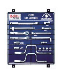 "Genius Tools 17 Piece 1/2"" Dr. Hand Accessory Display Board - AC-417"