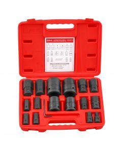 "Genius Tools 17 Piece 3/4"" & 1"" Dr. Metric Hex Bit Socket Set (CR-Mo) - BS-6817H"