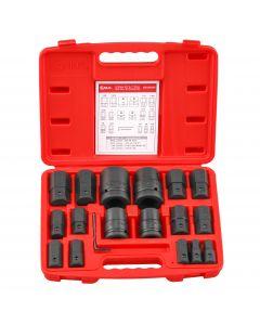 "Genius Tools 18 Piece 3/4"" & 1"" Dr. SAE Hex Bit Socket Set (CR-Mo) - BS-6818H"
