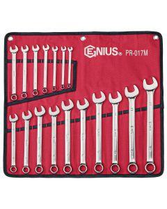 Genius Tools 17 Piece Metric Combination Wrench Set (Mirror Finish) - PR-017M