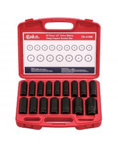 "Genius Tools 16 Piece 1/2"" Dr. Metric Deep Impact Socket Set - TD-416M"