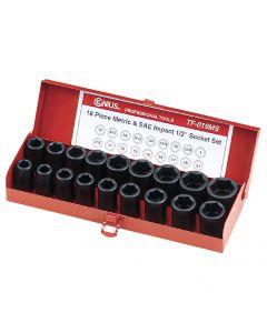 "Genius Tools 18 Piece 1/2"" Dr. Metric & SAE Impact Socket Set - TF-019MS"