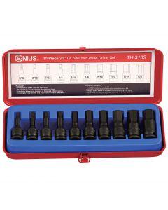 "Genius Tools 10 Piece 3/8"" Dr. SAE Hex Impact Bit Socket Set (CR-Mo) - TH-310S"