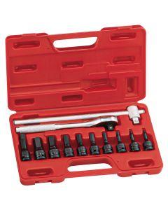 "Genius Tools 12 Piece 1/2"" Dr. SAE Hex Impact Bit Socket Set (CR-Mo) - TH-412S"