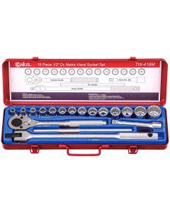 "Genius Tools 18 Piece 1/2"" Dr. Metric Hand Socket Set (12-Point) - TW-418M"