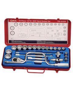 "Genius Tools 23 Piece 1/2"" Dr. SAE Hand Socket Set (12-Point) - TW-424S4"