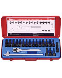 """Genius Tools 21 Piece 3/8"""" Dr. Star Impact Bit Socket Component Set (CR-Mo) - TX-321"""