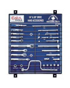 "Genius Tools 31 Piece 1/4"" & 3/8"" Dr. Hand Accessory Display Board - AC-2331"