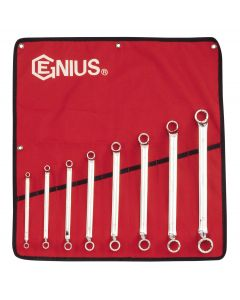 Genius Tools 8 Piece Metric Double Ended Offset Ring Wrench Set DE-707M