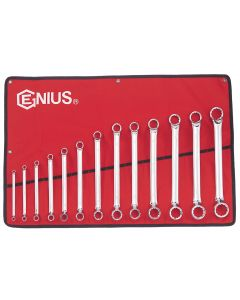 Genius Tools 13 Piece Metric Double Ended Offset Ring Wrench Set (Mirror Finish) - DE-713M