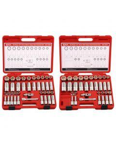 Genius Tools 40 Piece Metric Deep Hand Socket Set - DS-440M And Genius Tools 34 Piece SAE Deep Hand Socket Set - DS-434S