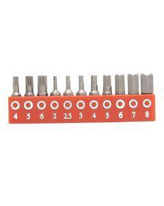 Genius Tools 11 Piece Metric Hex & Triple Square Screwdriver Bit Set - SB-211MH