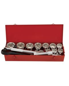 """Genius Tools 16 Piece 1"""" Dr. SAE Hand Socket Set (6 & 12-Point) (CR-Mo) - GS-816S"""