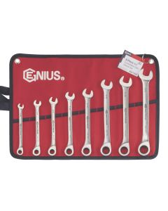 Genius Tools 8 Piece Stainless Steel SAE Combination Ratcheting Wrench Set - GW-7108S