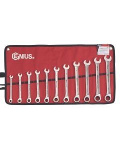 Genius Tools 11 Piece Stainless Steel Metric Combination Ratcheting Wrench Set GW-7108S