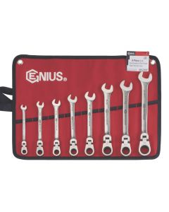 Genius Tools 8 Piece Stainless Steel SAE Combination Flex Head Ratcheting Wrench Set - GW-7308S