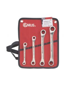 Genius Tools 4 Piece Stainless Steel SAE Double Box Ratcheting Wrench Set GW-7411M
