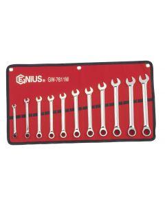 Genius Tools 11 Piece Metric Combination Ratcheting Wrench Set - GW-7611M