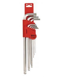 Genius Tools 9 Piece Metric Wobble Hex Key Wrench Set (S2 Tool Steel) - HK-09MBS