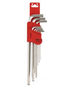 Genius Tools 9 Piece SAE Wobble Hex Key Wrench Set (S2 Tool Steel) - HK-09SBS
