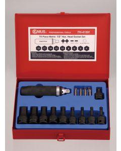 "Genius Tools 15 Piece 1/2"" Dr. Metric Hex Impact Bit Socket Set (CR-Mo) - TH-415H"